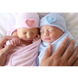 Wholesale Newborn Baby Beanie Cap Girl - Cute Baby Girl Boys Warm Beanie Hat Infant Toddler Heart Striped Beanie Hat Love Hospital Blue&Pink Cap Comfy 0-6M Babies