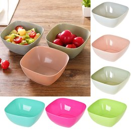 Wholesale wholesale square dishes - New Food Grade Plastic Square Fruit Plate Salad Bowl Melon Fruit Plate Small Snack Candy Dish Dried Fruit Bowl Free DHL WX9-339