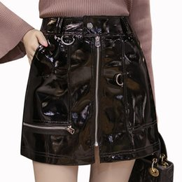 e3c42517844 2018 Summer Sexy Women s Leather Skirt Bright PU Front Zippers Pocket Mini  Female Skirts High Waist Slim Short Plus Size Saias S916