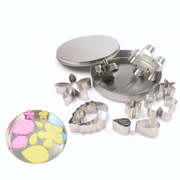Wholesale fancy metal - 12 pcs set Stainless Steel Baking Mould Bakeware Cake Mold Fancy DIY Biscuit Rice Mould Suit NNA127