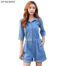 35398927b1e Fashion Korean Style Denim Rompers Womens Jumpsuit 2018 Summer Autumn Half  Sleeve Playsuits Elastic Waist Shorts Jeans Overalls discount denim  jumpsuits ...
