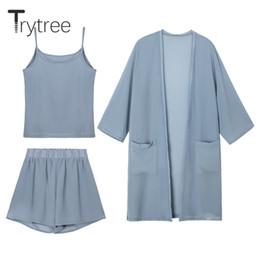 Disfraz de mujer de oficina online-Trytree Women Summer set de tres piezas Tops casuales + shorts + Conjunto de traje de oficina femenino Cami Top Disfraces de mujer 3 piezas
