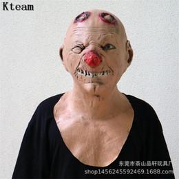 máscaras zombie completas Rebajas Scary Zombie Goblin Mask Red Nose Cosplay Full Face Horror Masquerade Adulto Fantasma Party Mask para Halloween Props Terror