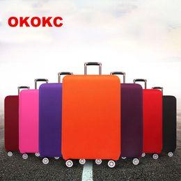 spinner cover Rabatt OKOKC Reise verdicken elastische reine Farbe Gepäck Koffer Schutzhülle, gelten für 18-32 Zoll Fällen, Reise-Zubehör