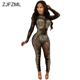 see through lace jumpsuits Promo Codes - Sparkly Rhinestones Sexy Party Jumpsuit Women Mesh Patchwork See Through Bodycon Overall Elegant Long Sleeve Plus Size Romper