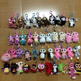 "Wholesale Big Plastic Dolls - 10 RANDOM styles Ty beanies Boos Big eye Animal~Bee cow Leopard SHEEP~Ornament Metal Plastic key Clip~on doll 3.5"""