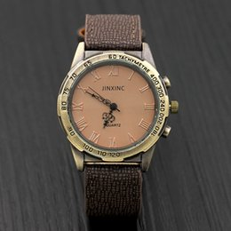 Wholesale Wood Bark - Low price Wood Grain Bark Mens Watches Vintage Quartz Sport Man Military Watch Leather Wristwatches Clock Relogio Masculino Gift