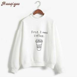 Café moletom on-line-Outono Inverno Mulheres Harajuku Hoodies Kawaii Preciso de Café Letra Carta Camisola de Manga Longa Gola Velo Meninas Pulôver