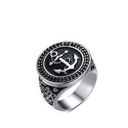 Wholesale Vintage Pave - Vintage style Mens punk biker ring fashion high polish stainless steel anchor signet gothic rings free shipping