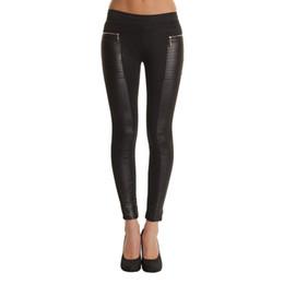 Сексуальные кожаные леггинсы онлайн-New High Waist Sexy Soild Black PU Leather Leggings Women Leggings S M L XL XXL Plus Size spliced skinny leggins zx*E3346#c3