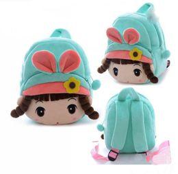 Bonitas mochilas para meninas on-line-Crianças linda menina dos desenhos animados mochila de pelúcia shool sacos de ombro menina bonita sacos verdes para 1-3 anos de idade crianças frete grátis