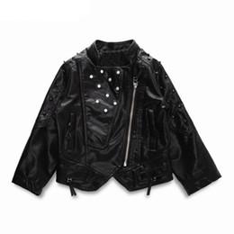 Wholesale kids girls children leather jacket - Girls Jackets&Coats 2018 New Autumn Girls Fashion Rivet Short Section Tide Leather Jacket kids Children Coat
