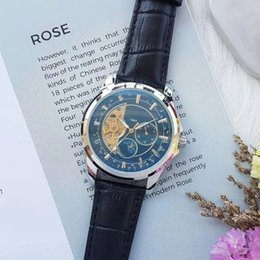 Wholesale Moon Dial - Fashion man watch luxury brand mechanical automatic Flywheel moon phase dial leather strap watches for men's best gift wristwatch relogios