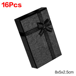 Wholesale Wood Boxes Cheap - Black Red Pink Cheap+Hot Selling 8x5x2.5cm jewelry earring bracelet ring gift box black square carton bow case package