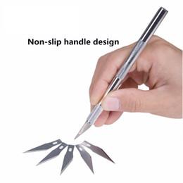 Cuchillas de bisturí online-Kit de herramientas de cuchillo de bisturí de metal antideslizante Cutter grabado cuchillos artesanales Pen Cutter + 6 piezas cuchillas para PCB Repair herramienta de bricolaje