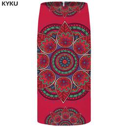 Женская красная юбка-карандаш онлайн-KYKU Flower Skirts Women Graphic Red Skirt Party Vintage 3d Printed Cool Pencil Ladies Skirts Womens Japanese Short Casual 2018