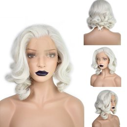 Wholesale White Hair Lace Front Wigs - Short Body Wave Bob White Blonde Free Part Wave High Temperature Fiber Synthetic Hair Lace Front Wigs For Queen