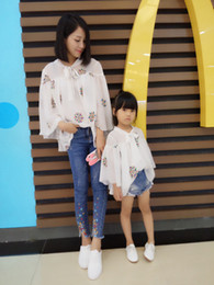 Wholesale wreath summer - Summer Family blouses 2018 new girls wreath embroidered princess tops womens lace-up Bows collar flare sleeve chiffon blouses Y0025