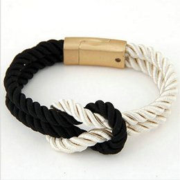 Горячие мужчины roped онлайн-2017 Hot Trendy Fashion Braided Rope Chain with Magnetic Clasp Bow Charm Leather Bracelets & Bangles for Women Men Jewelry