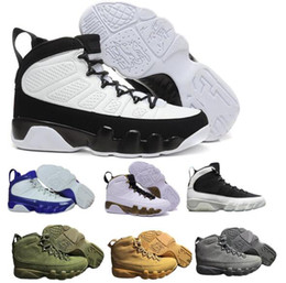 Wholesale Blue Yellow China - 2018 Air 9 Basketball Shoes Men Women White Space Jam Anthracite Copper Statue Barons Suede Fabric 9s IX China Sports Tennis Mens Sneakers
