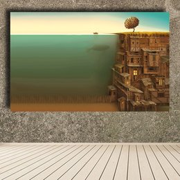 Wholesale Framed Fish Pictures - Trees Wood Fish Surrealism Artwork Underwater Oil Painting Canvas Print Wall Pictures for Living Room posters and prints No Framed