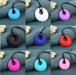 Wholesale Silicone Jewelry Baby - BPA Free Silicone Round Teething Pendant Necklace Baby Pacifier Dummy Soother Chewing Teether Jewelry 100 p