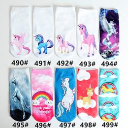 Wholesale teenagers shorts - Unisex Children Teenager Cartoon 3D Printing Unicorn Socks Boys Girls Low Cut Short Ankle Cotton Socks 65 Cute Designs Stockings