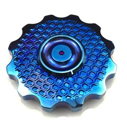 Wholesale Copper Bearings - Gear Sunflower Fidget Spinner Top Quality Brass Copper High Speed Ceramic 608 Bearing Heavy EDC Toy Circle