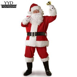 2019 homem de traje de papai noel 5 Peça Set Tops + Cintos + Calça + Chapéu + Barba de Natal Bonito Roupas Homens 2017 Terno de Roupas de Natal Trajes de Papai Noel Para Homens # 1125 homem de traje de papai noel barato