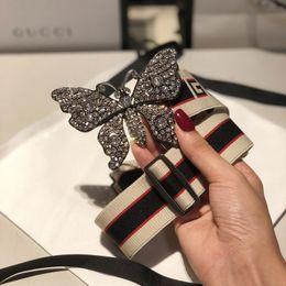 Cadeaux uniques de papillon en Ligne-Vente chaude nouvelles femmes Argent ceinture de boucle de papillon En cuir véritable Ceintures d'affaires Élastique ceinture de tresse bande motif boucle de ceinture pour cadeau