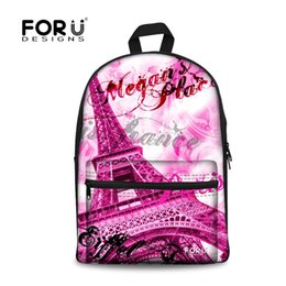 Wholesale Champagne Towers - FORUDESIGNS Paris Eiffel Tower Printing Backpack for Teenage Girls,School Bags for Teenagers,Children Canvas School Backpack