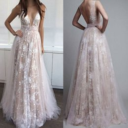 Wholesale Classy Wedding Dresses Sleeves - Woman Deep V-Neck Classy Backless Wedding Lace Ball Gown Prom Cocktail Party Evening Long Maxi Dress Clubwear Dresses