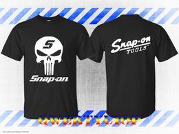 camisa de punto calaveras Rebajas Snap On T-Shirt Logo de los hombres Snap On Tools Wrench Skull Nueva camiseta Negro Camiseta de manga corta con estampado de hombres Camiseta con cuello en O tejido de punto cómodo