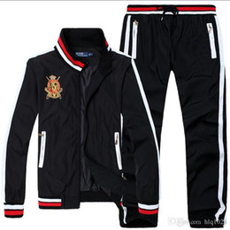 Wholesale High Fashion Jackets Men - New casual embroidery men tracksuits fashion sport windbreaker for men new style luxury jackets and pants men free shipping