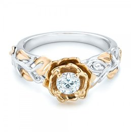 Wholesale Womens 18k Gold Rings - Newly silver and gold bi-color flower shape womens finger ring with 5 sizes choice