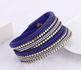 2019 braille en cuir Bijoux de mode Bracelets de cristal bracelets Pour les femmes Strass Bracelet en cuir Braclets de cristal promotion braille en cuir