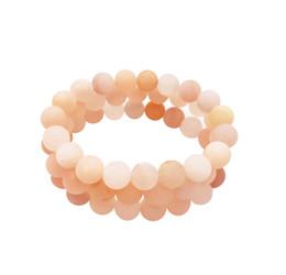 bangle bianco giadeite Sconti 10 millimetri Matte Peach Aventurine bracciale, braccialetto della pietra preziosa, perline rotonde Aventurine, braccialetto elastico, braccialetto all'ingrosso