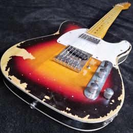 Handtasche gedruckt online-Seltene Meister Andy Summers Tribut Heavy Relic Vintage Sunburst Tele TL E-Gitarre Aktivdrähte, Boost-Tuner H Wechseln Sie zu S Pickup
