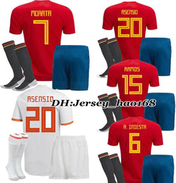 Wholesale Boys Shirts Sale - Spain kids kit Soccer Jersey 2018 world cup Spain home Away soccer shirt 2018 MORATA ISCO ASENSIO RAMOS PIQUE Football uniforms sales