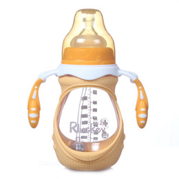 Wholesale bpa free glass baby bottles - LCLL-Rluckey A New Baby Soft Silicone Nipple Bottle BPA Free Glass Bottle 240ml Infant Wide Mouth Milk Water Feeding Bo