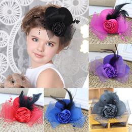 Wholesale Gray Wedding Hats - Girls Child Flower Hat Mesh Hairpin Fascinator Wedding Party Hairclip Accessory HATYS0032
