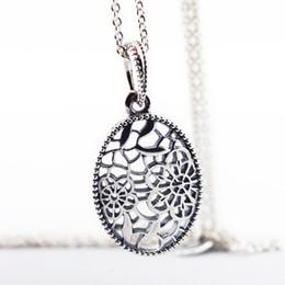Кружевные ожерелья diy онлайн-925 Sterling Silver Pendant Necklace Floral Daisy Lace DIY Fine Jewelry for Women SN018