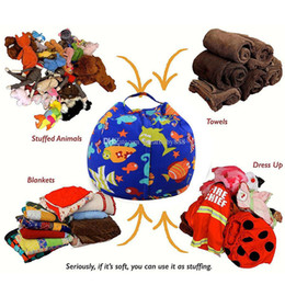 bean bag dolls Promo Codes - 22 Colors 8 inches Storage Bean Bags Kids Bedroom Stuffed Animal Dolls bag Plush Toys Large-capacity Spherical Tote bag C3271