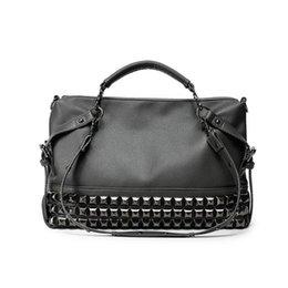 Grandes bolsos grandes negros online-Rivet Women's PU Leather Handbag Big Black Bolsas de mano High Quality Designer Mujeres Large Shopping Bolsas de hombro sac a main