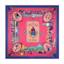 Wholesale twill silk scarf square - Luxury Brand France Square Print Silk Scarf for Women Paris Design H Shawls Foulard Femme Echarpe En Soie Red Large Twill Scarfs Wholesale