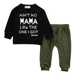 Pantalon negro estampado online-Kid Baby Boys Tops con estampado de letras Pantalones Pantalones Conjunto de 2 piezas Trajes Ropa para niños de Mama's Kids Ropa de manga larga negra 0-24M