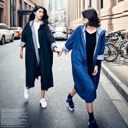 Wholesale Black Trenchcoat - ASYMSAY 2017 Spring Women Clothing Solid Color Long Sleeve Hooded Cowboy Coats Loose Trenchcoat Windbreaker AZ9314