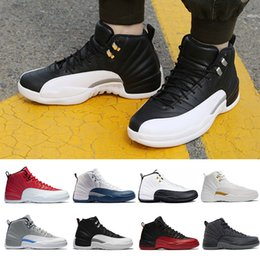 Wholesale Fabric French - High Quality 12 XII Men basketball Shoes bordeaux french blue gym Red Flu Game taxi playoffs wool gamma blue white sneakers Sports Shoes