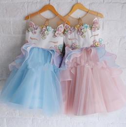 Wholesale Girls Lace Pearls Dress - Unicorn Dress girl tutu baby skirt princess birthday gift party unicorn girl Pearls Flowers Dresses Summer Princess Dress KKA4134