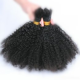 Wholesale Afro Kinky Hair Bulk - Human Braiding Hair Bulk No Attachment Mongolian Afro Kinky Curly Bulk Hair For Braiding 1Pc 100g Natural Color